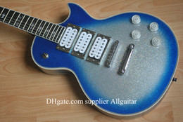 Wholesale Ace frehley signature blue Silver Body Ebony Fingerboard Electric Guitar