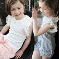 4T-12T baby doll pants - Children s summer wear lace hollow out doll baby girls two piece pants suit children A55