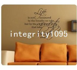Life Is Not Measured....Breath Away Wall Decal Decor Words Large Nice Sticker
