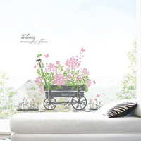Graphic vinyl PVC Animal Easy Instant Home Decor Wall Sticker Decal - Sweet Love Pull Flower Wagon
