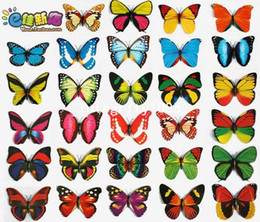 50pcs Lot - Magnet Style - M size Butterfly Wall Stickers PVC Butterfly Fridge Magnets For Car Dress Home Decoration