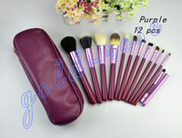 Wholesale HOT NEW Makeup Brushes Professional Cosmetic Brush with Purple Leather Case gift