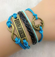 Wholesale 12pcs Mermaid Best friend amp Infinity Charm bracelet Antique Bronze Wax Cords and Imitation Leather Bracelet b73