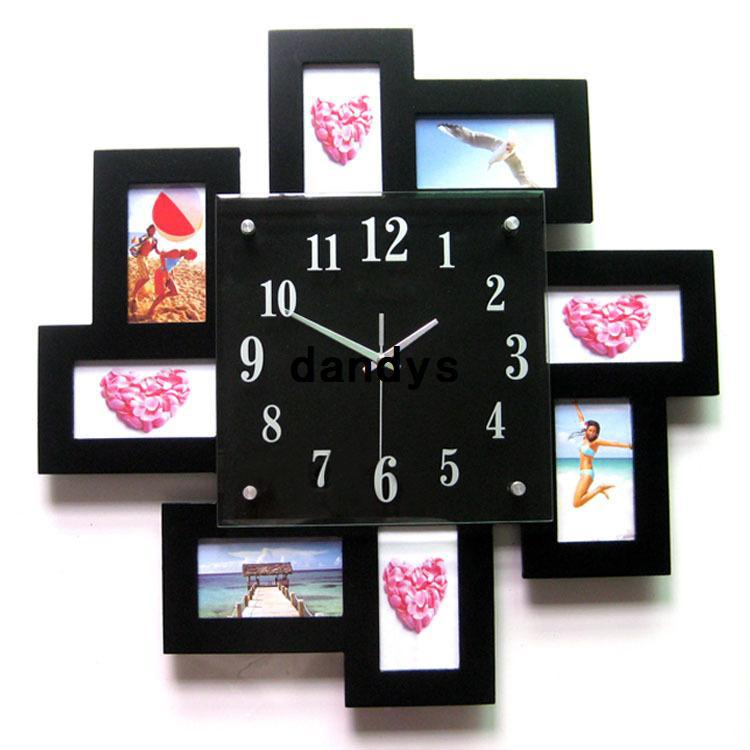 top fashion wooden photo frame wall clock decorative hanging clock for