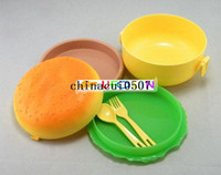 Wholesale Cute Round Hamburger Shape Bento Lunch Box Spoon Fork Kit Dinnerware Sets FreeShipping