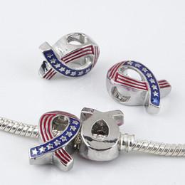 Wholesale 100Pcs Ribbon Breast Cancer Awareness American Flag Ribbon Charms Big Hole European Beads Fit Charm Bracelets