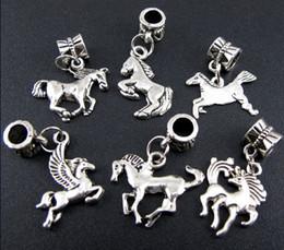 Wholesale Sales Mix Antique Silver Alloy Horse Charms Beads Fit Charm Bracelet