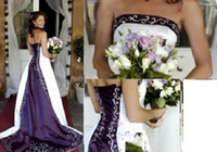 Strapless purple and white wedding dress - Hot New Strapless Satin Embroidery Aline Corset Back White and Purple Wedding Dress Bridal Gowns