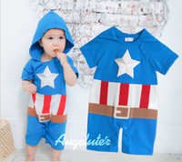 Unisex 3-6 Months Long Sleeve 2013 Summer toddler boys clothes new style Short sleeve Captain America baby rompers infant hoodies jumpsuits blue 3 size 6 pcs lot XR579