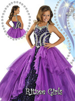 Wholesale Beads Halter Ballgown Sweep train kids Party Prom dresses Ritzee Girls Pageant Dress Style