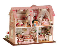 Wholesale Wooden DIY Handmade Assembly Mini House with LED Light DIY House Doll House Warm House quot Sweet Pink quot