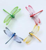 Wholesale 14cm Lovely Colors Simulation Plastic Dragonfly Fridge Magnets Home Decor FM011