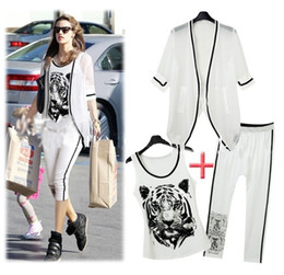 Wholesale Fashion women tiger print white Tracksuits