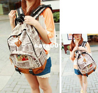 Wholesale Fashion Korea Unisex New Design Newspaper Print Canvas Bag Girls amp Boys Backpack School Bag