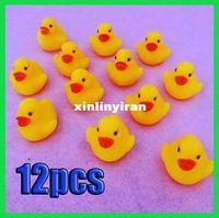 earring Whole Body Bath 12pcs Baby Bathing Bath Tub Toys Mini Cute Rubber Race Squeaky Float Duck Yellow[99191]