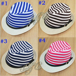 Wholesale Trendy Baby Fedora Hat Children Striped Jazz Cap with Belt Kids Top Hat Boys Girls Sunbonnet