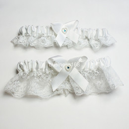 Wholesale Unique design a pair of white lace with thimble jewel wedding bridal Garters Sexy Lace Garter Bridal Accessories