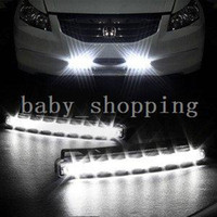 LED 12 Daytime Running Lights Car Truck Van Daytime Running Light Head Lamp White 8 LED DRL Daylight Kit Hot A1757
