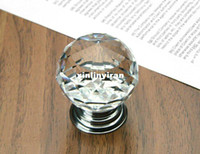 Wholesale Furniture handle Designer Series K9 Crystal Glass Chrome Cabinet Cupboard Door Knob Diameter mm