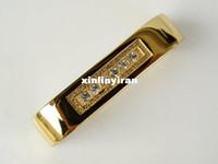 Ceramic kitchen cabinet hardware - 64mm Gold Kitchen Cabinet hardware Clear Crystal Handle Zinc Alloy pull handle