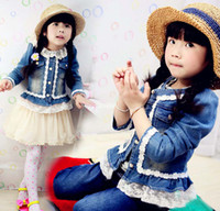 Wholesale Kids Clothing Jeans Jacket Children Outwear Girls Cute Coat Long Sleeve Tops Fashion Lace Princess Jackets Casual Coat Blue Denim Jacket