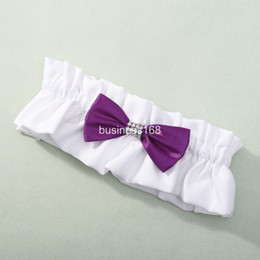 Wholesale Unique design white lace with red and purple tie wedding bridal Garters Sexy Lace Garter Bridal Accessories