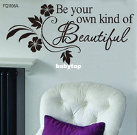 Wholesale Be Your Own Kind Beautiful DIY Art Black Flower Vine Wall Sticker Decor Decal