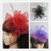 Wholesale Cheaper Feather Headbands - 2013 Cheap 3 Color Party Cocktail Women With Clip Beautiful Party Wedding Feather Hairbands