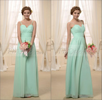 Chiffon Ruffle Sweep Train Fresh lime green spaghetti strap pleated A-line chiffon sweep length bridesmaid dresses GH102
