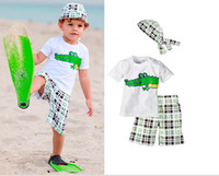 Boy 1-5Year Summer 2013 Summer children beach clothes monkey beast short sleeve t shirt+grid shorts cap 3pcs baby sets boys beach suit