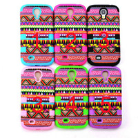 silicone+pc aztec patterns - Colorful Aztec Tribal Pattern Retro Hard Back Case Cover For Galaxy s4 i9500 Waterproof Case Covers
