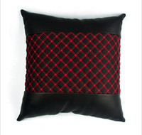 1pcs Korean Style Auto Car Leather Pillow Cushion Black Red ...