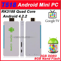 Wholesale T518 RK3188 Quad Core Mini PC Android TV BOX Dongle HDMI HDD Player G G with External Wifi Antenna BT White