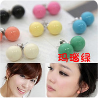 Other cheap stud earring - hot sell women fashion lovely jewelry cheap candy color ball stud earrings plastic ear