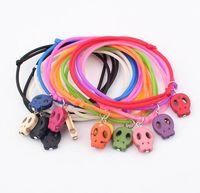 Cheap Color fashion thriller multiple skull bracelet,plastic cement brand for women 12pcs set send color by mix random