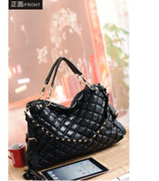 Wholesale Cheap Handbag Women Shoulder Bags Punk Rivets Check Black New Arrival
