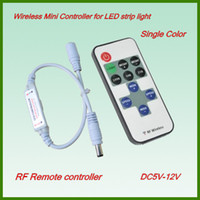 Wholesale DC5V V Mini wireless RF remote led Controller RF Dimmer for two DC Connector LED strip lights single color