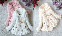 Wholesale 1082 Girl Coat Lace Fur Long Sleeve Outerwear Thicken Fashion Coat Children Outerwear Color