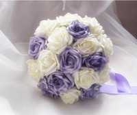 Wholesale Purple Artificial Simulation Foam Rose Bouquets Bride Bouquet Bridesmaid Flower Ball Romantic Wedding Flowers Valentine s Day Gift