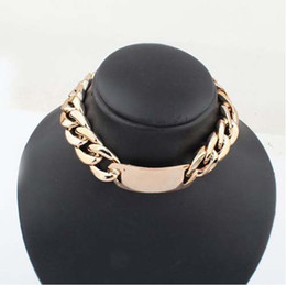 Wholesale NEW ARRIVAL CHUNKY WIDE BOLD GOLD CURBED CHAIN LINK ID PENDANT STATEMENT CHOKER NECKLACE FREESHIPPING