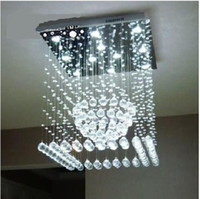 Hotel Transparent Crystal Modern Square LED Crystal Pendant Lamp Round Ceiling Light Rain drop Chandelier