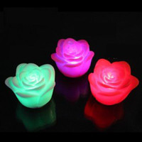 Wholesale 20pcs Rose Flower LED Night Lights Party Lamp Sleep Indoor Lighting Valentine Lover Gifts Wedding Colors Changeing