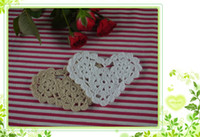 Wholesale Custom Colors cotton hand made Crochet Doily Shaped Heart cup pad vase mat appliques x10CM a040