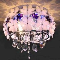 Wholesale Modern LED White Flower Crystal Flushmount Ceiling Light Lamp Lighting Chandelie