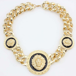 Hot Selling 3 Lion Head Statement Necklace Gold Plated Chunky Chain Pendant Necklaces Collar Jewlery For Men Free Shipping