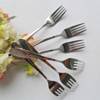 Bamboo flatware - 6pcs Stainless Steel Steak salad fork Long Handle Spoon Flatware Piece Dinner