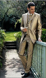 Three Buttons Gold Groom Tuxedos Notch Lapel Best Man Groomsmen Men Wedding Suits Prom Formals Bridegroom Suit (Jacket+Pants+Tie+Vest) J13
