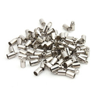 Clasps & Hooks cord stoppers - 100Pcs Rhodium Plated Cup Cord End Cap Stopper Beads Fit Necklace Bracelet Leather Cord Chain