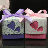 Wholesale 5 CM DIY LOVE Heart Hollow Out Wedding Favor Box Candy Favors Gift Bag With Ribbon