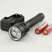 Wholesale 1set cree xml Lm m Diving Flashlight x CREE XML U2 LED Flashlight Torch led Waterproof Light with Battery Charger